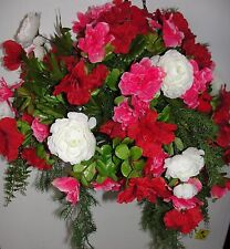 Cascading Outdoor Hanging Basket Flower Gardens Silk Arrangements Cemetery Decor
