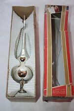 Vintage West Germany Tree Topper Pontil Mercury Glass White Mica Silver w/ Box