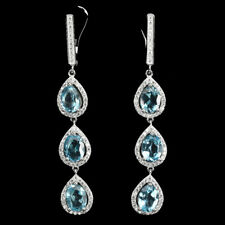 Sterling Silver 925 Genuine Natural Swiss Blue Topaz & Lab Diamond Earrings