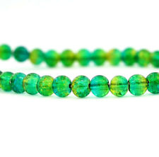 45 Green Crackle Glass Beads In Simply Stunning Tones of Green -6mm - Bd837
