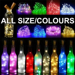 LED Wine Bottle Fairy String Lights Battery Cork Shaped Xmas Wedding Party 1M 2M