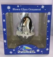 SeaWorld Collector Blown Glass Penguin Family Christmas Ornament Collectible