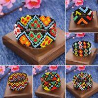 Boho Women Printing Patterned Beads Bracelet Handmade Elastic Wristband Bangle