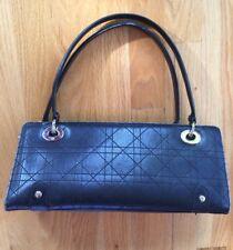 CHRISTIAN DIOR Bag Black Leather Silver LADY DIOR East West CANNAGE