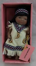 "Kingstate Porcelain Little Indian Girl Doll White Dress. W/box doll- 5.5""-6"" Euc"