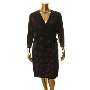 ANNE KLEIN NEW Women's Printed Faux Wrap Dress TEDO