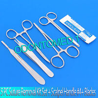 5 PC CLASSIC SUTURE LACERATION REMOVAL KIT SET (SCALPEL HANDLE #4+ 5 BLADES #24)