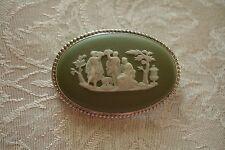 Wedgwood Jasperware Green Grecian Cameo Pin Brooch Sterling Silver Vintage