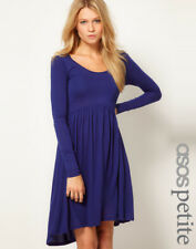ASOS PETITE Exclusive Skater Dress With High Low Hem - Blue UK 4