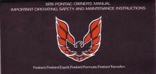 1978 Pontiac Firebird Owners Manual User Guide Reference Operator Book Fuses