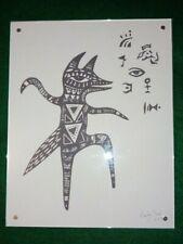 FRAMED B & W  FOLK ART PRINT OF A DANCING FOX -  SIGNED BY ARTIST MELODY SEAL