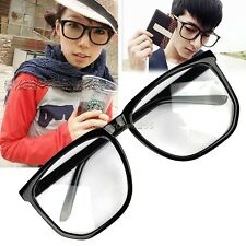 Unisex Clear Lens Retro Tortoise Shell Plain New Black Glasses Oversized Eyewear
