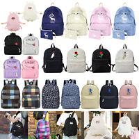 Women Canvas School Bag Girls Backpack Travel Rucksack Shoulder Fashion Bags Lot