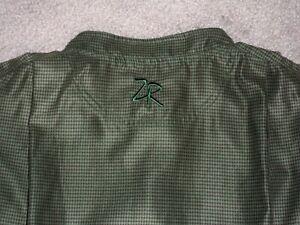 Men's NWOT ZERO RESTRICTION 1/4 Snap Golf Vest XL BLACK & GREEN Houndstooth w/ZR