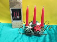 Brass Christmas Sleigh Candle Holder with 3 Candles & Poinsettias ~ 1984
