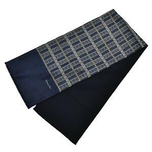 Christian Dior Silk Wool Stole Scarf Navy Blue Men Unisex