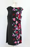 Lauren Ralph Lauren Black Ombre Floral Print Ruched Wiggle Dress Size 16W Red