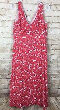 Boden Women's Dress Floral Red Sleeveless V Neck Sundress Side Zip Size 10 Long