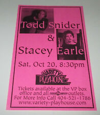 TODD SNIDER & STACEY EARLE Concert Poster / ATLANTA Variety Playhouse  10-20-01