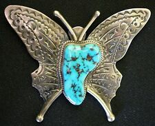 Sterling Silver Butterfly Brooch Pin Vintage Navajo Large Turquoise With Tooled