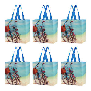 Reusable Grocery Bags Shopping Totes Gift Bag Heavy Duty Laminated (Set of 6)