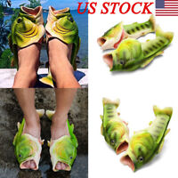 Unisex Creative Fish Shower Slippers Funny Beach Shoes Sandals Bling Flip Flops