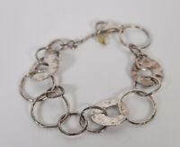 Silpada Sterling Silver Paperchain Hammered Circle Link Bracelet B1217