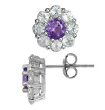 Natural Amethyst & Topaz 925 Sterling Silver Flower Cluster Stud/Post Earrings
