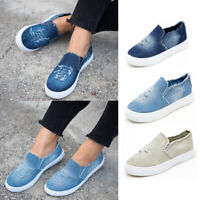 WOMENS FLATS SLIP ON PUMPS DENIM CANVAS CASUAL SHOES LOAFERS SUMMER TRAINERS NEW