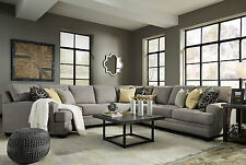 MAYFIELD-Large Modern Gray Microfiber Living Room Sofa Couch-5pcs Sectional Set
