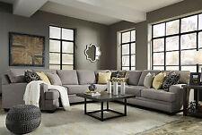 MERIDA Large Modern Gray Microfiber Living Room Sofa Couch 5pcs Sectional Set