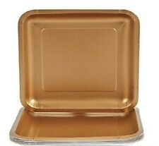 """Gold Square Plates Luncheon / Dinner 18 ct Paper Plates Glittering 9 1/8"""""""