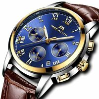 Men Sport Waterproof Luminous Date Leather Wrist Watch  14