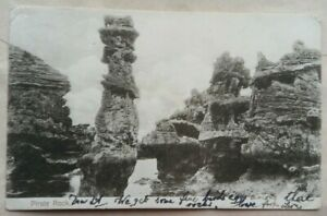 BERMUDA 1908 PIRATE ROCK PICTURE POST CARD TO ENGLAND