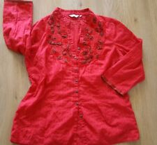 Ladies bright red cotton dressy blouse casual top Per Una Marks Spencer 14