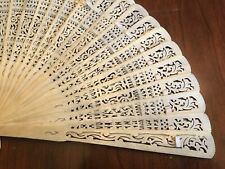Vintage Large Bone Hand Fan. All Sticks Intact.