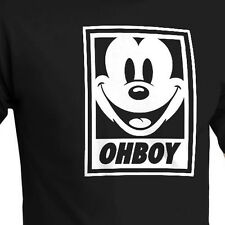 Mickey Mouse Oh Boy Obey Parody Cotton Crew Neck Top Short Sleev T-Shirt Tee XXL