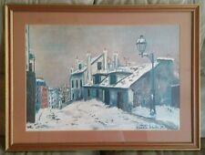 Maurice Utrillo Large  Print Framed Paris Montmartre Corner Winter Scene