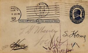 1913 PS card 1 c. dark blue on buff mailed locally in Lafayette, USA