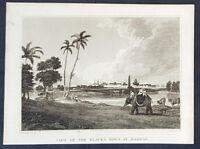 1816 Jonas Nuttall & W M Craig Antique Print Early View of Madras, Chennai India