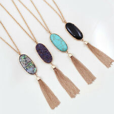 Fashion Women's Big 2'' Oval Abalone Druzy Stone Tassel Pendent Necklace Long TR