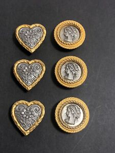 Vintage Button Covers Goldtone Pewter Cameo and Flower Lot Of 6