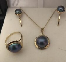 14K Solid Y/G Mabe  Blue Pearl  Earrings, Pendant, Ring Matching Set With Chain