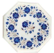Corner Table Top 12'' Octagon White Marble Lapis Lazuli Inlay Art & Floral