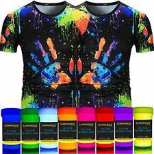 Luminous Fabric & Textile UV Paint - Set of 8 Textile Neon Black Light Glow Pain