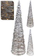 60cm Metal Frame Rattan Christmas Tree with Snow 15 LED Lights Light Up Tree