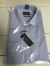 Men's 100% COTONE Moss BROSS Camicia 15.5 Colletto Blu a Righe Rrp £ 30
