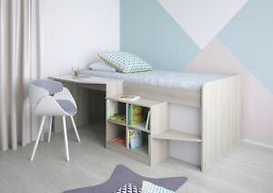 Polini Kids Kinderbett mit Schreibtisch und Regal in Ulme xcm