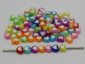 200 Mixed Candy Color Cute Acrylic Heart Beads 8X8mm With White Heart Center