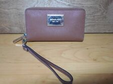 Michael Kors Leather Jet Set Multifunctional Zip Around Wallet Wristlet Tan